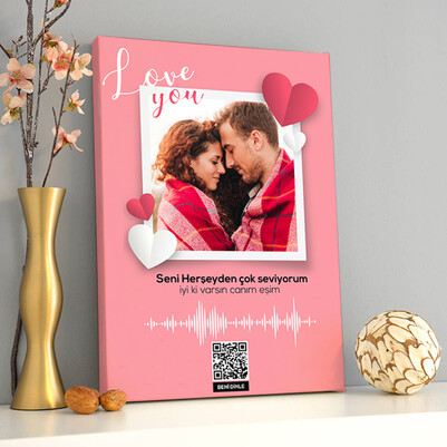 Biricik Sevgilim Ses İzi Kanvas Tablo - Thumbnail