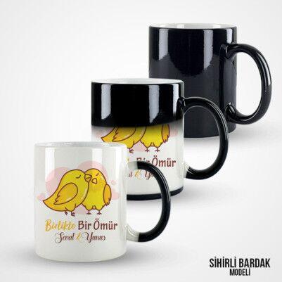 Birlikte Bir Ömür Sevimli Kuşlar Kupa Bardak - Thumbnail