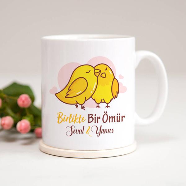 Birlikte Bir Ömür Sevimli Kuşlar Kupa Bardak