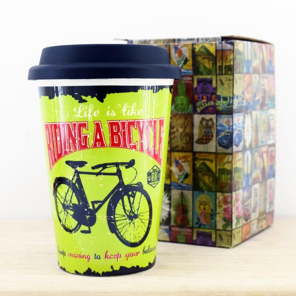 Bisiklet Temalı Silikon Kapaklı Kupa Bardak