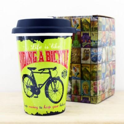 Bisiklet Temalı Silikon Kapaklı Kupa Bardak - Thumbnail