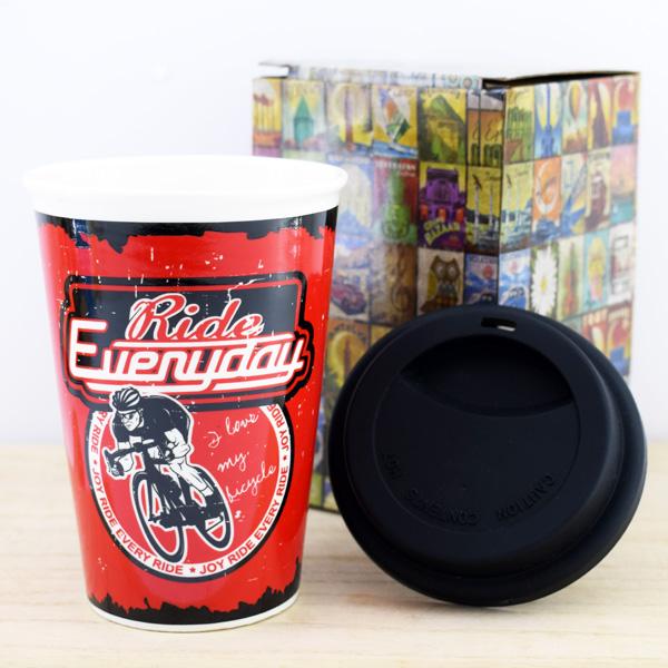 Bisikletçi Temalı Kahve Kupası