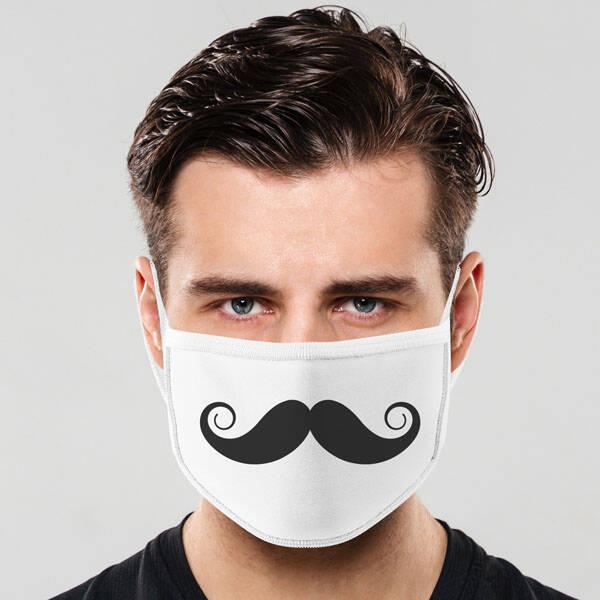 Bıyık Tasarımlı Yıkanabilir Maske
