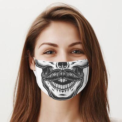 Bıyıklı Kuru Kafa Tasarım Ağız Maskesi - Thumbnail