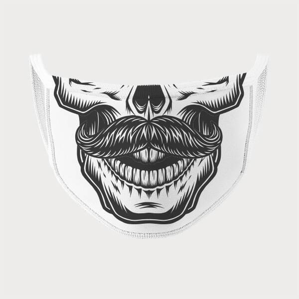 Bıyıklı Kuru Kafa Tasarım Ağız Maskesi