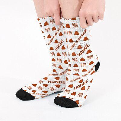 - Bok Emojili İsme Özel Çorap