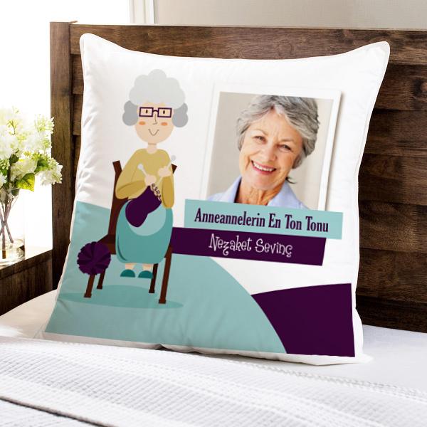 Büyük Annelere Hediyelik Fotoğraflı Yastık