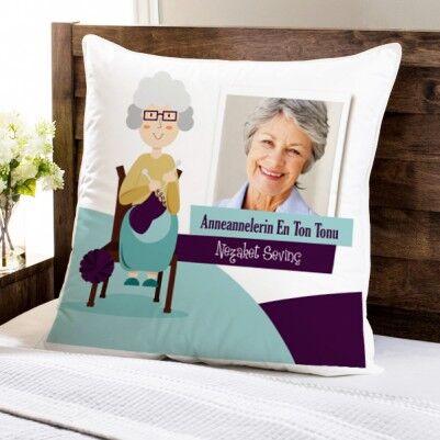 - Büyük Annelere Hediyelik Fotoğraflı Yastık