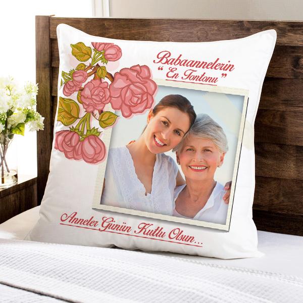 Büyük Annelere Özel Fotoğraflı Yastık
