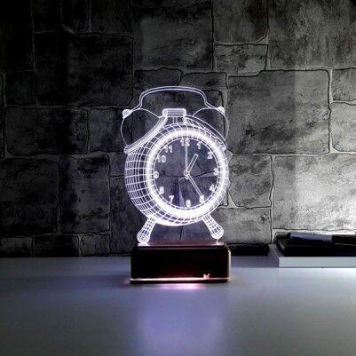 Çalar Saat Tasarımlı 3 Boyutlu LED Lamba - Thumbnail