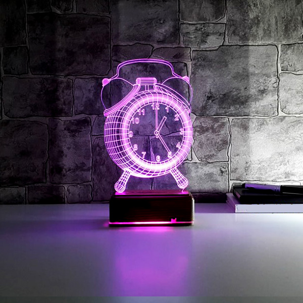 Çalar Saat Tasarımlı 3 Boyutlu LED Lamba