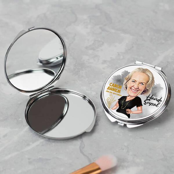 Canım Annem Karikatürlü Makyaj Aynası
