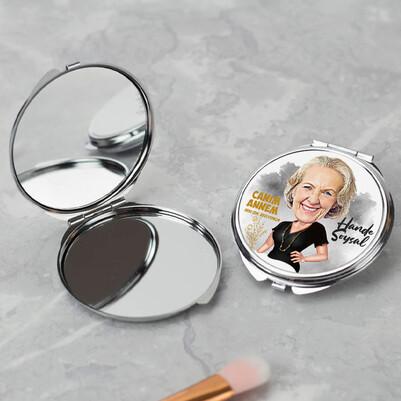 Canım Annem Karikatürlü Makyaj Aynası - Thumbnail