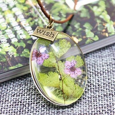 Canlı Çiçek Kolye Mavi - YK231 - Thumbnail