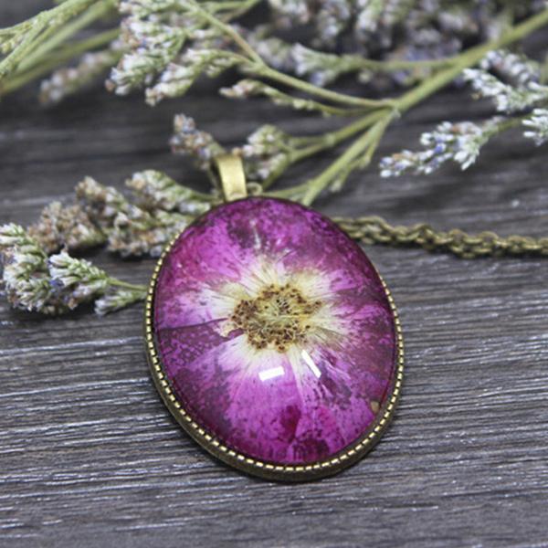 Canlı Çiçek Kolye Pembe Papatya YK222