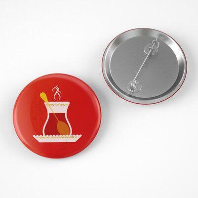 - Çay Bardağı Tasarımlı Buton Rozet