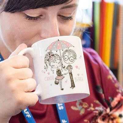 - Çayını Aşkla Yudumla Tasarım Kupa Bardak