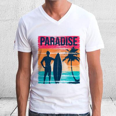 Cennet Tatil Baskılı Tişört - Thumbnail