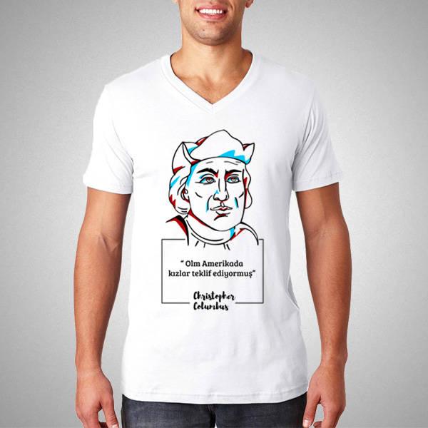 Christopher Columbus Esprili Tişört