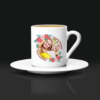 - Çiçek Annem Fotoğraflı Kahve Fincanı