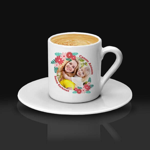 Çiçek Annem Fotoğraflı Kahve Fincanı