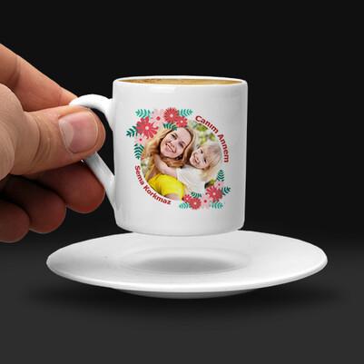 Çiçek Annem Fotoğraflı Kahve Fincanı - Thumbnail