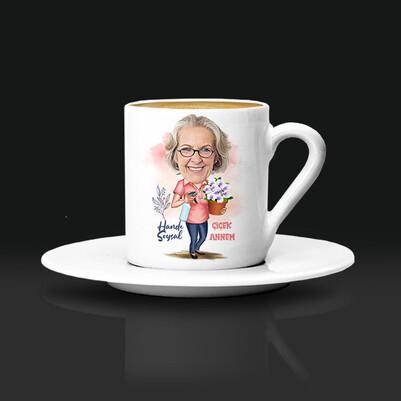 - Çiçek Annem Karikatürlü Kahve Fincanı