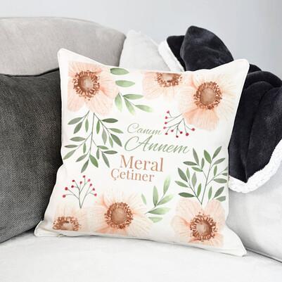 - Çiçek Desenli Canım Annem Yastık
