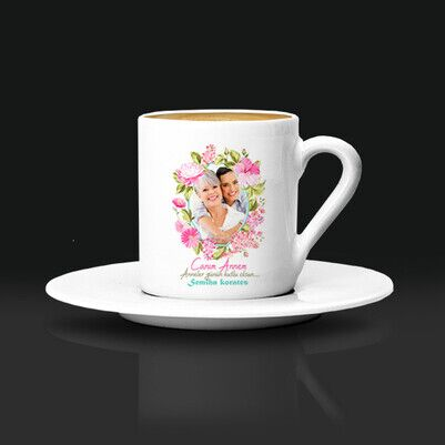 - Çiçek Desenli Fotoğraflı Kahve Fincanı