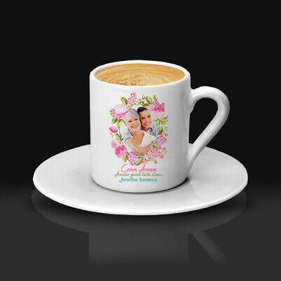 Çiçek Desenli Fotoğraflı Kahve Fincanı - Thumbnail