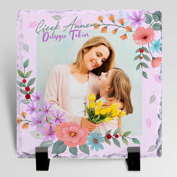 Çiçek Desenli Fotoğraflı Taş Blok