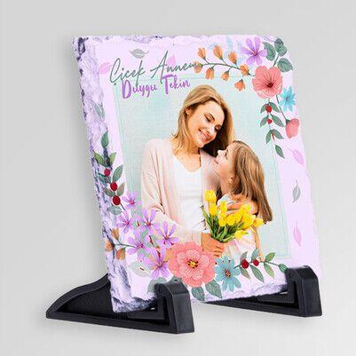 Çiçek Desenli Fotoğraflı Taş Blok - Thumbnail