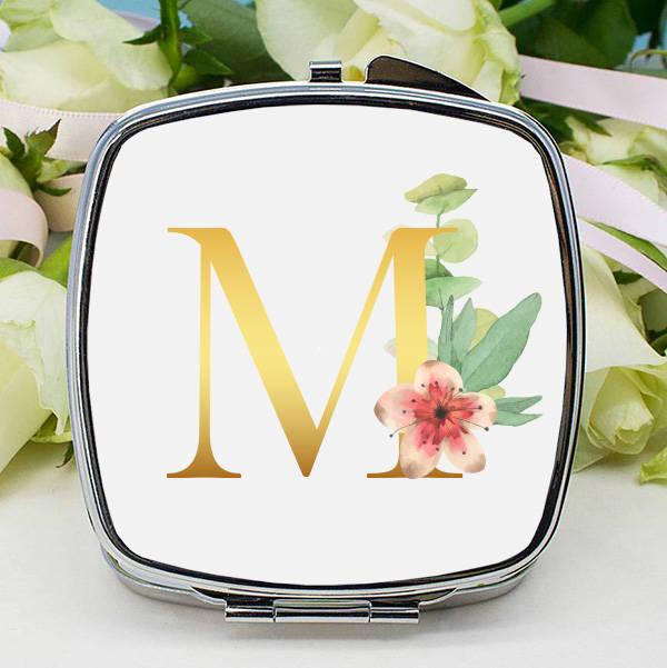 Çiçek Desenli Harfli Makyaj Aynası