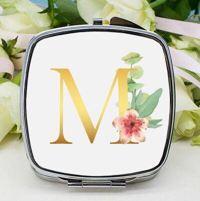 Çiçek Desenli Harfli Makyaj Aynası - Thumbnail
