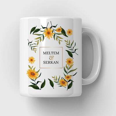 Çiçek Desenli İsimli Sevgili Kupa Bardağı - Thumbnail
