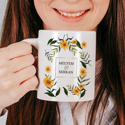 - Çiçek Desenli İsimli Sevgili Kupa Bardağı