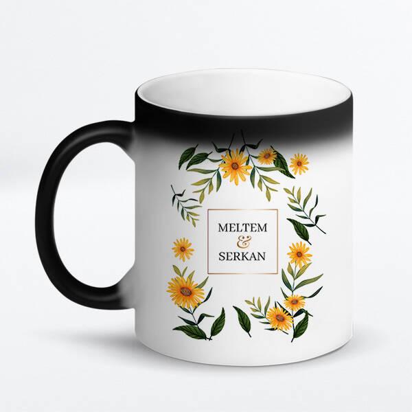 Çiçek Desenli İsimli Sevgili Kupa Bardağı