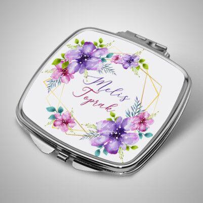 - Çiçek Desenli İsme Özel El Aynası