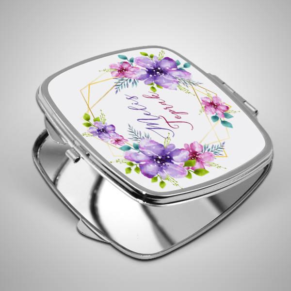 Çiçek Desenli İsme Özel El Aynası