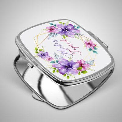 Çiçek Desenli İsme Özel El Aynası - Thumbnail