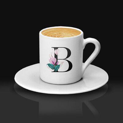 - Çiçek Desenli ve Harfli Kahve Fincanı