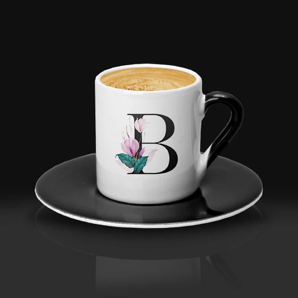 Çiçek Desenli ve Harfli Kahve Fincanı