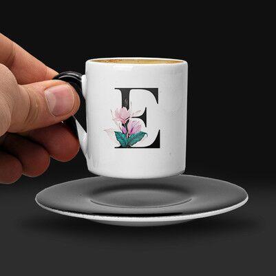 Çiçek Desenli ve Harfli Kahve Fincanı - Thumbnail