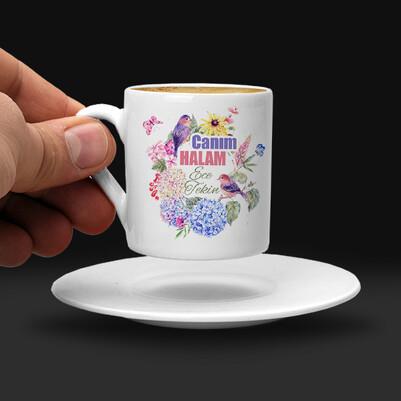 Çiçek Halam İsimli ve Mesajlı Kahve Fincanı - Thumbnail