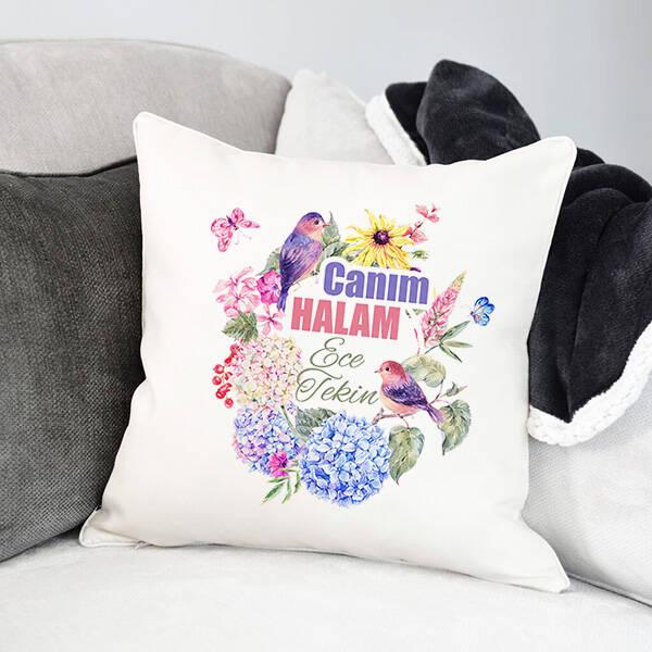Çiçek Halam İsimli ve Mesajlı Yastık