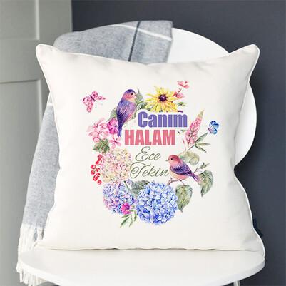 Çiçek Halam İsimli ve Mesajlı Yastık - Thumbnail