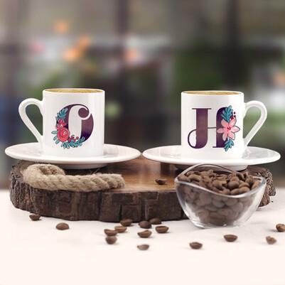 - Çiçek Harfli İkili Kahve Fincanı