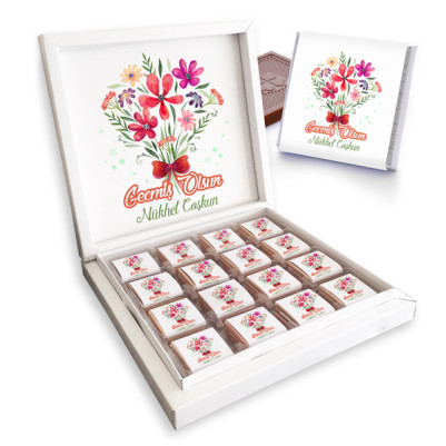 - Çiçek Motifli Geçmiş Olsun Çikolata Kutusu