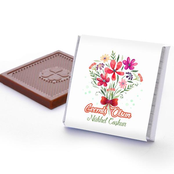 Çiçek Motifli Geçmiş Olsun Çikolata Kutusu