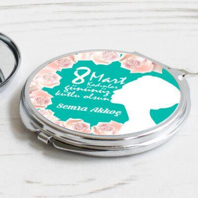 Çiçek Motifli Kadınlar Günü Makyaj Aynası - Thumbnail
